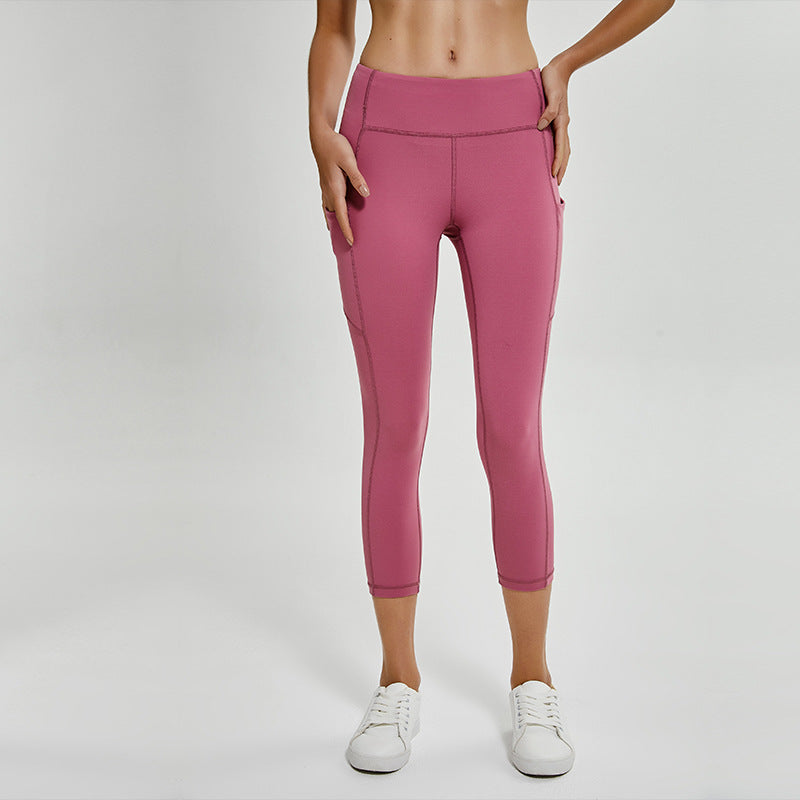 Side Pocket Butt Lifting Compression Capri Leggings
