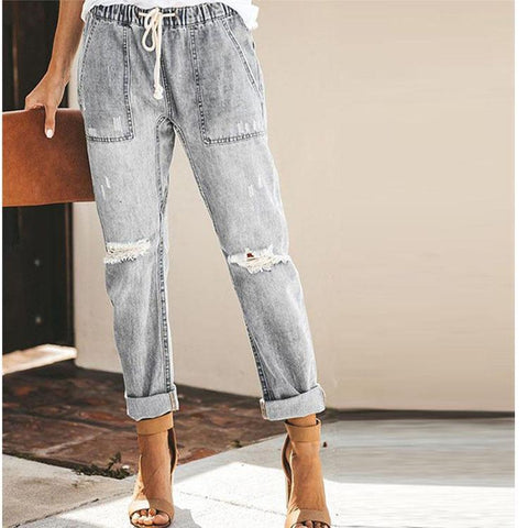 4 Colors Frayed Style Straight-Leg Jeans