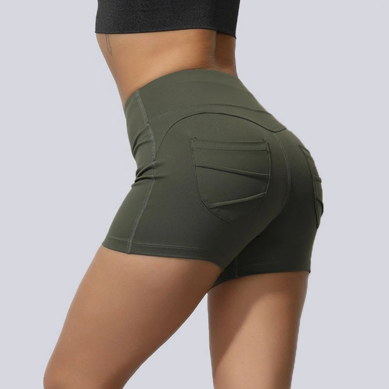 High Waisted Solid Fast and Free Pockets Gym Shorts