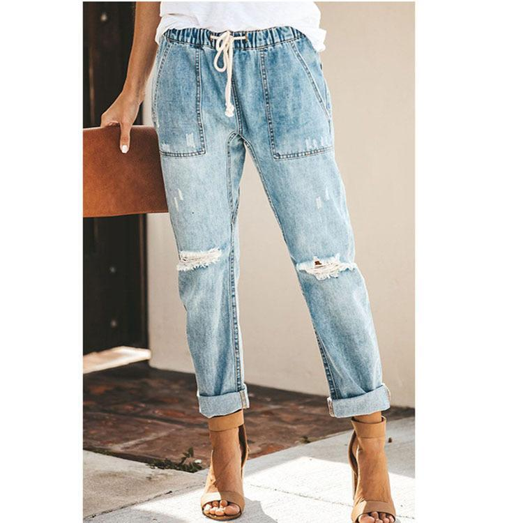 Frayed Style Straight Leg  Hemming Jeans