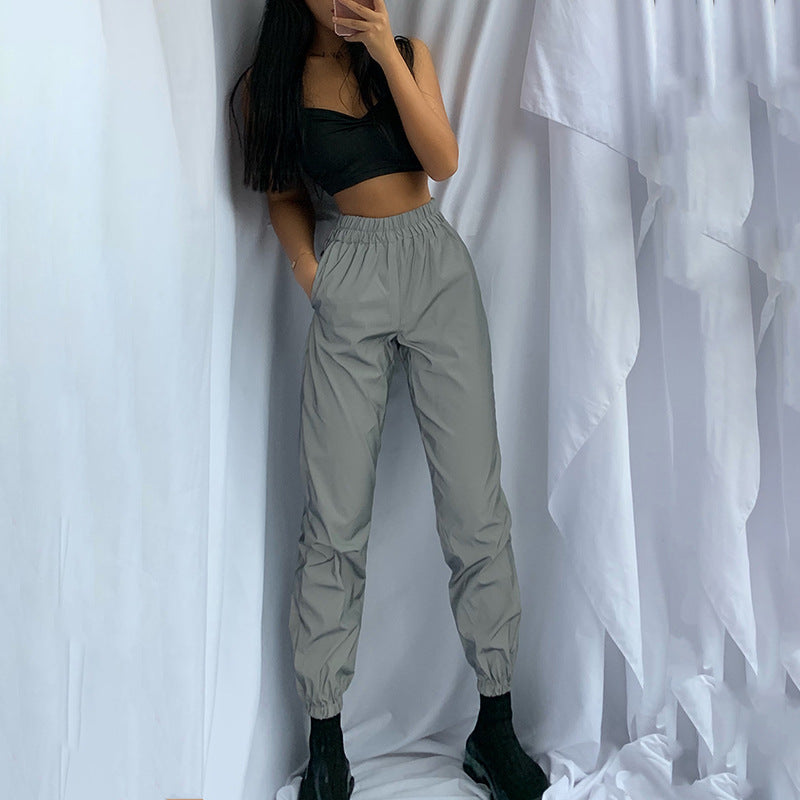 Reflective Solid Elastic High Waist Joggers