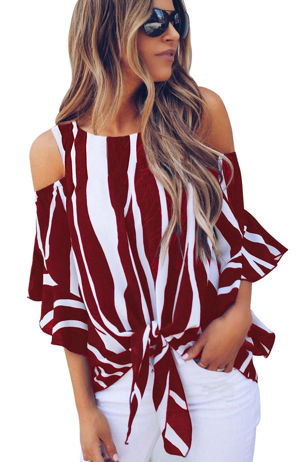 Red Cold Shoulder Vertical Stripes Blouse