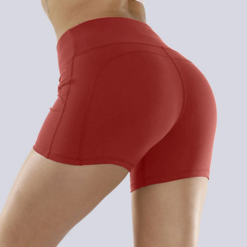 Solid Stretch Fit Non-Reflective High-Rise Shorts