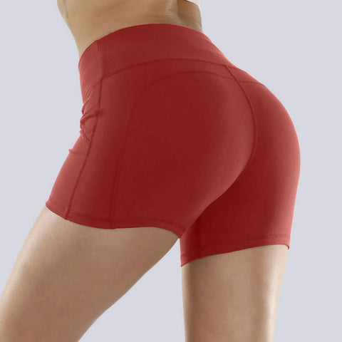 Solid Stretch Fit Non-Reflective High-Rise Shorts gallery 1