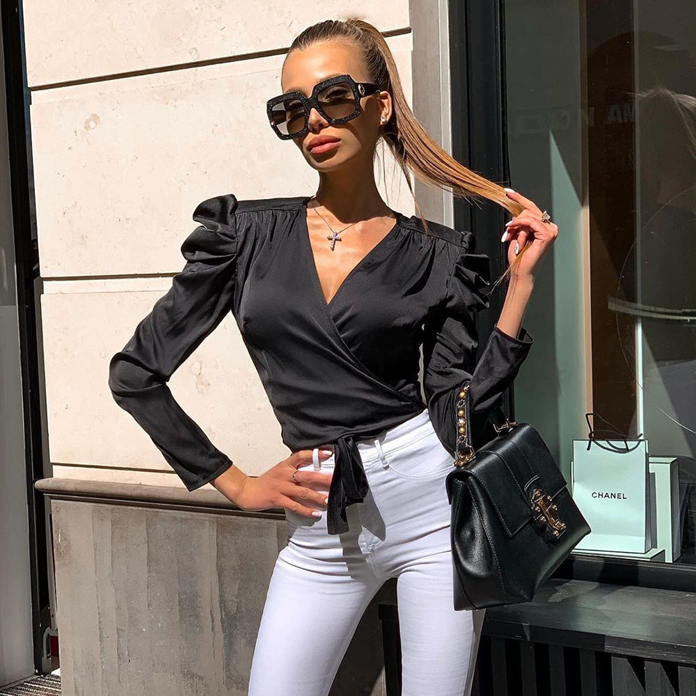 Satin Wrap Tie Side Long Sleeve Crop Top