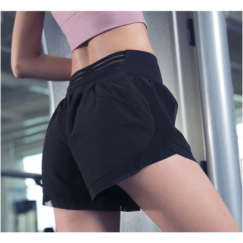 Mesh Patchwork Double-layer Active Shorts gallery 2