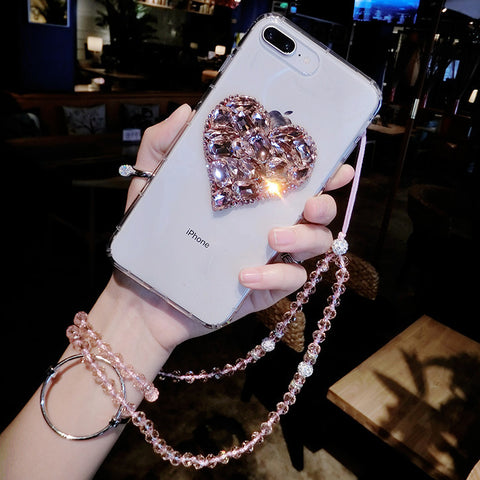 Clear Transparent Rhinestone Heart Phone Case for Samsung with Strap