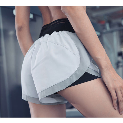 Mesh Patchwork Double-layer Active Shorts gallery 1