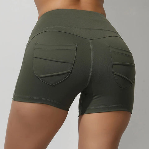 High Waisted Solid Fast and Free Pockets Gym Shorts gallery 2