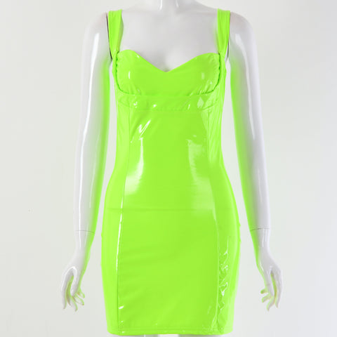 Sexy Lime Square Neck Patent Leather Bodycon Mini Dress gallery 3