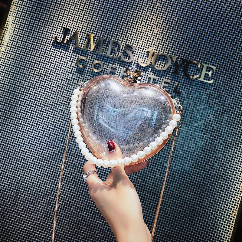 Clear Glitter Heart Shaped Clutch Bag Shoulder Bag