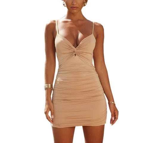 Sexy Ruched Deep-V Cut Front Bodycon Dress gallery 6
