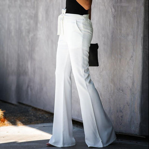 Casual Solid Color Belted Waist Flare Pant gallery 5