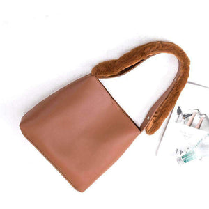 Elegant Trapezoid Tote bag with Furry Handle