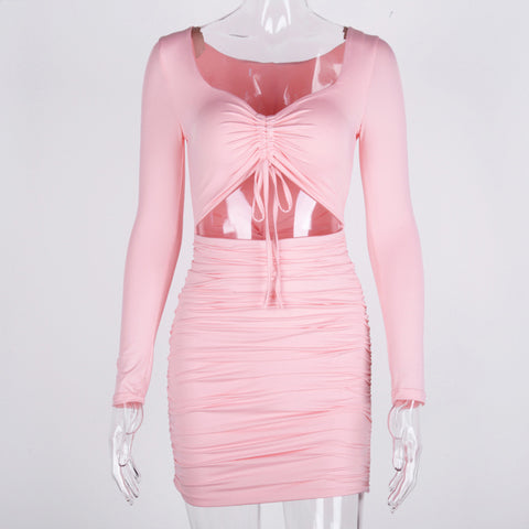 Soft Ribbed Ruched Cut Detail Dress gallery 6