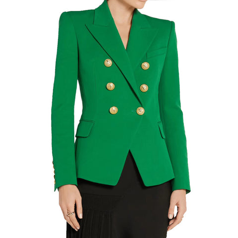 Vivid Green Colors Double Breasted Fitted Blazer