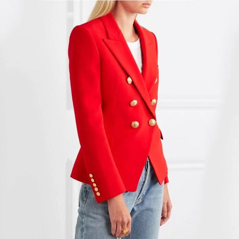 Vivid Red Double Breasted Blazer