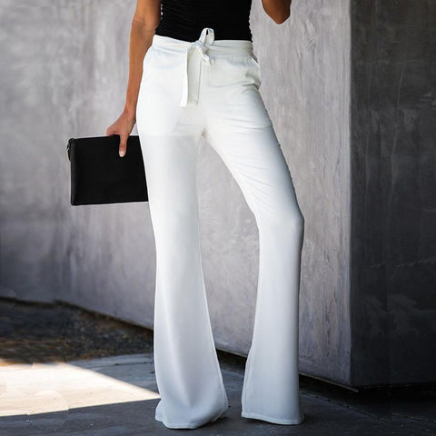 Casual Solid Color Belted Waist Flare Pant gallery 4