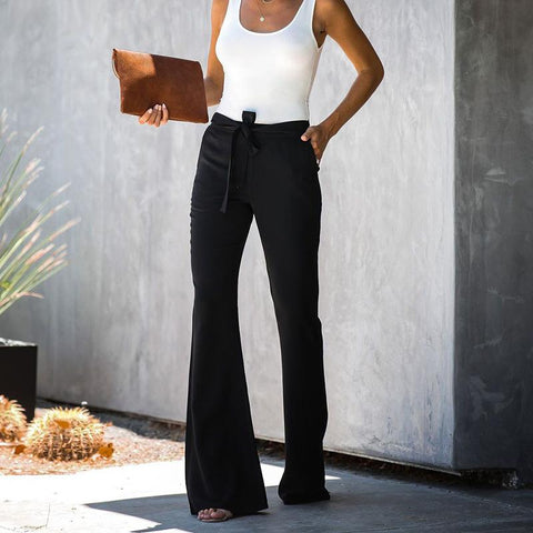 Casual Solid Color Belted Waist Flare Pant gallery 2