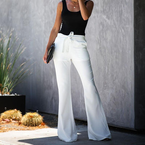 Casual Solid Color Belted Waist Flare Pant gallery 3