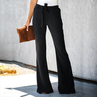 Casual Solid Color Belted Waist Flare Pant
