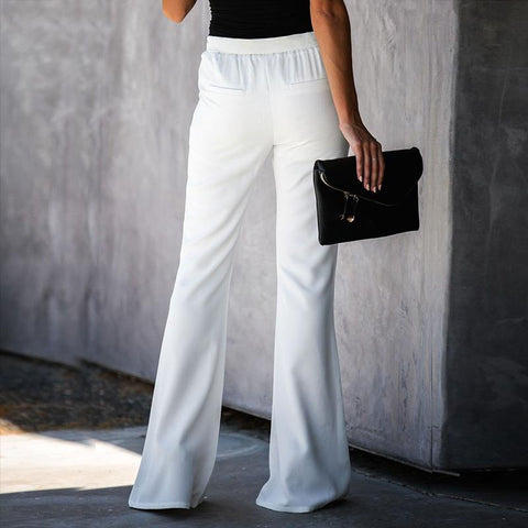 Casual Solid Color Belted Waist Flare Pant gallery 6