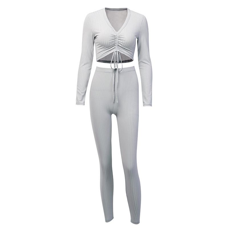 Knit V-Neck Ruched Drawstring Front Top & Pant Set