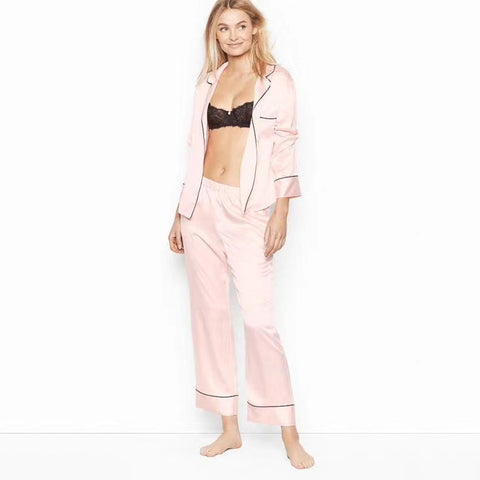 Long Sleeve Heart Embroidered Stitching Color Pajama Set