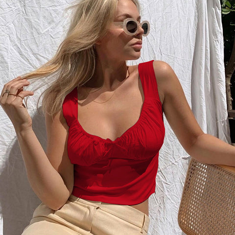 Elastic Ruched Sweetheart Neck Crop Top