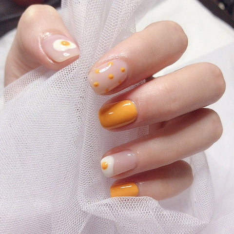 Poached Egg For Breakfast Magic Press On Nail Manicure