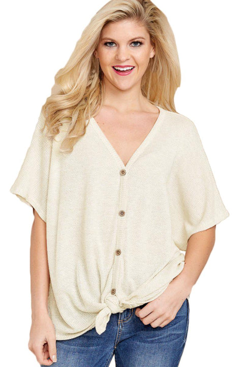 White Dolman Buttoned Front Top with Tie gallery 1