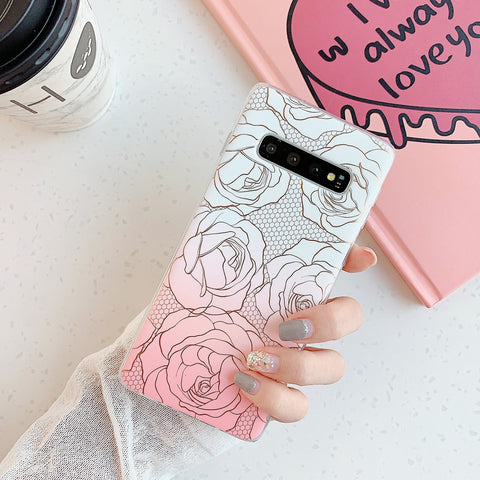 Floral Pattern Marble Phone Case for Samsung gallery 3