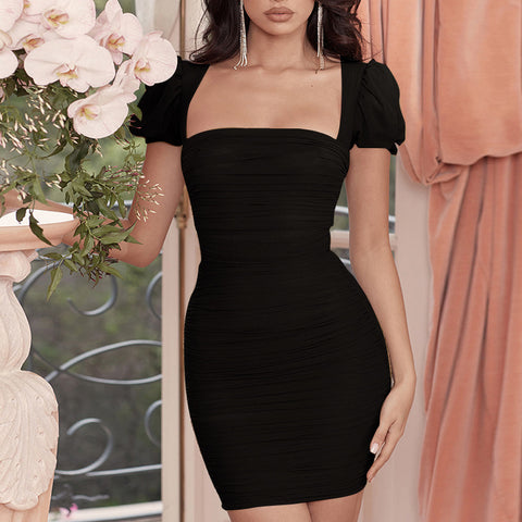 Sexy Crop Shoulder Ruched Mesh Jersey Dress gallery 2