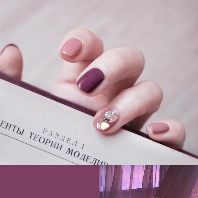 Autumn Beach Shell Decorated Plum Magic Press On Nail Manicure