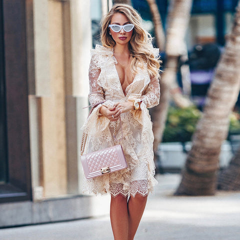Sexy Deep-v Lace Frill See-through Midi Dress gallery 3