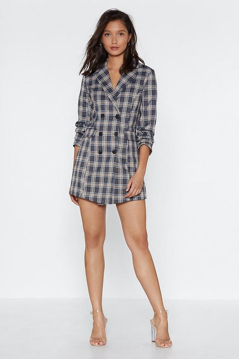Retro Plaid Boyfriend Blazer Dress