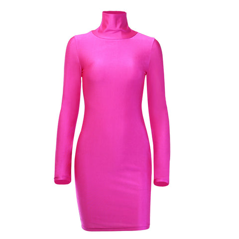 Sexy Turtle Neck Neon Color Jersey Dress gallery 5