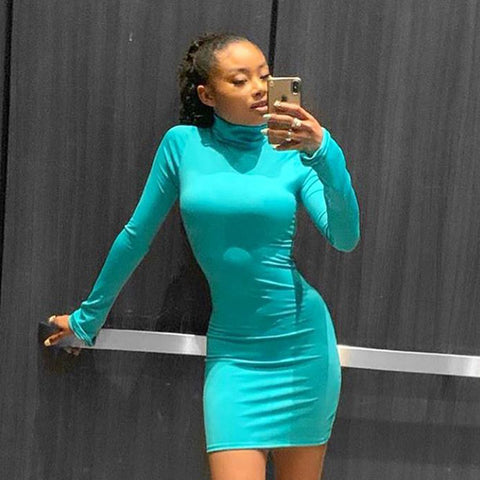Sexy Turtle Neck Neon Color Jersey Dress gallery 2
