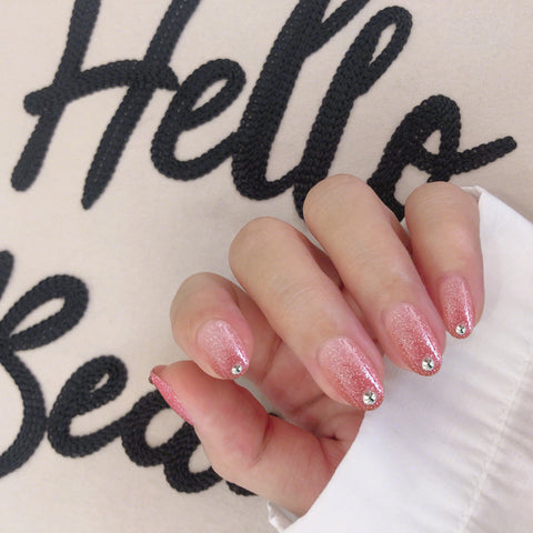 Pink Glitter Tip Diamond Magic Press On Nail Manicure