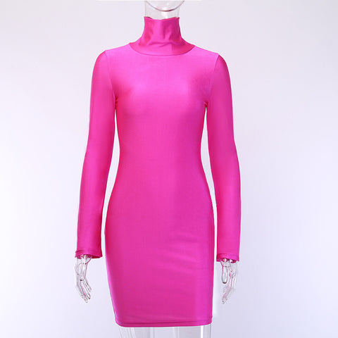 Sexy Turtle Neck Neon Color Jersey Dress gallery 6