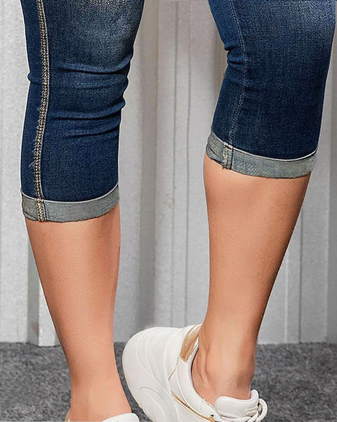 Ripped Roll Up Hem Capris Jeans gallery 6