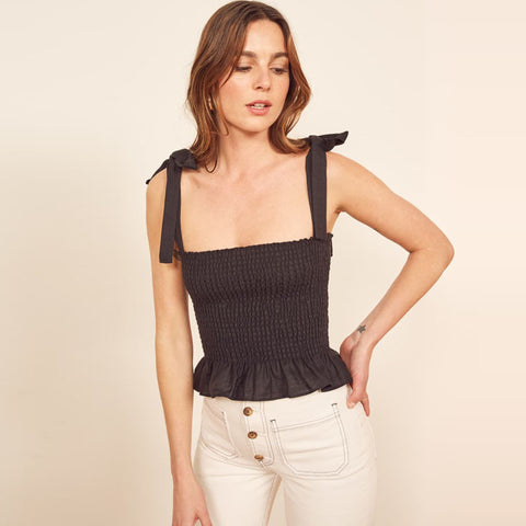 Tie Shoulder Shirred Crop Top