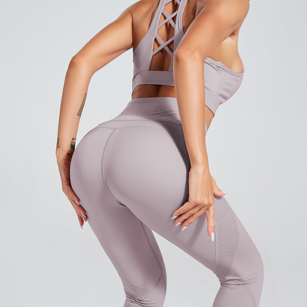 Solid Cross Back Top & Side Pocket Leggings Yoga Set