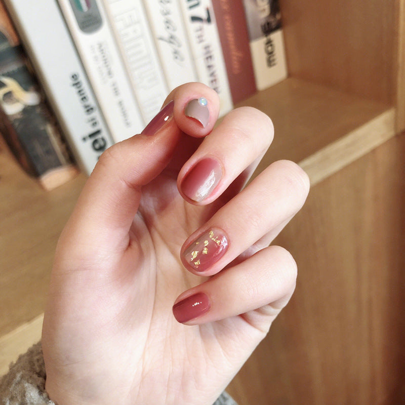 Gold Foil Ash & Pink Magic Press On Nail Manicure