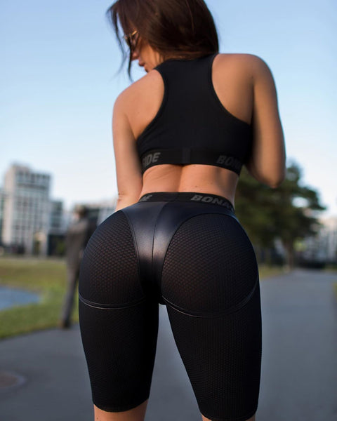 Faux Leather Patchwork Butt Lifting Biker Shorts gallery 1