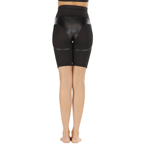 Faux Leather Patchwork Butt Lifting Biker Shorts gallery 6