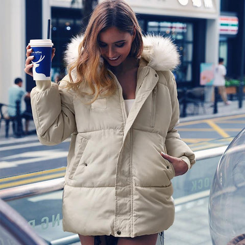 4 Colors Big Fur Collar Hooded Mid-Long Straight Puffer Jacket