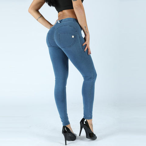 Button Front Mid Waist Butt Lifting Jeggings