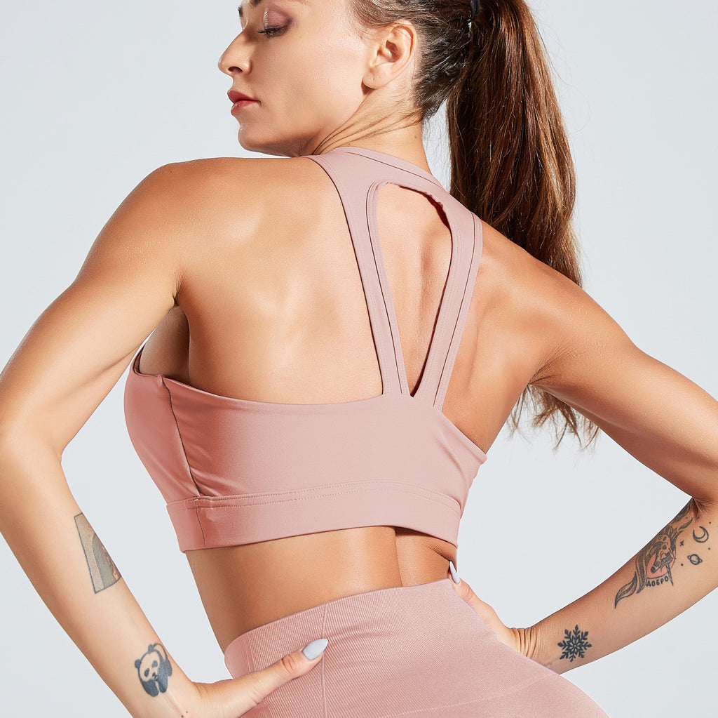 Solid Cut Out Back Sports Bra