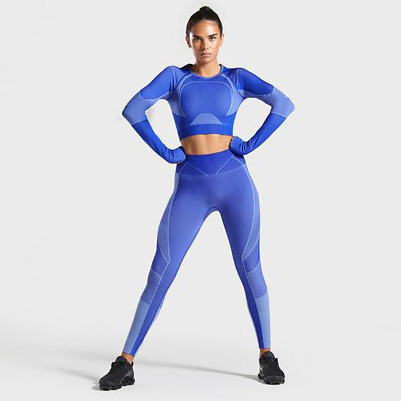 Color Block Stretch Sports Top and Leggings Set